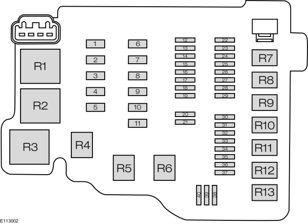 Ford Fiesta from 2012 fuse box diagram EU version