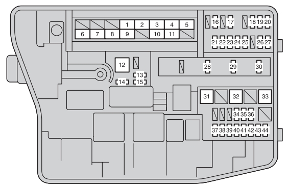 Toyota Corolla  2012 - 2016  - Fuse Box Diagram