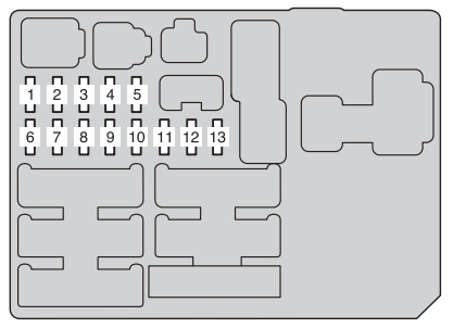 toyota hilux  2011 - 2013  - fuse box diagram