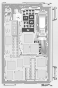 Opel Meriva - bezpieczniki - komora silnika (dół)