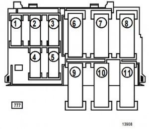 Renault Clio 2 - bezpieczniki - komora silnika - silnik D7F764