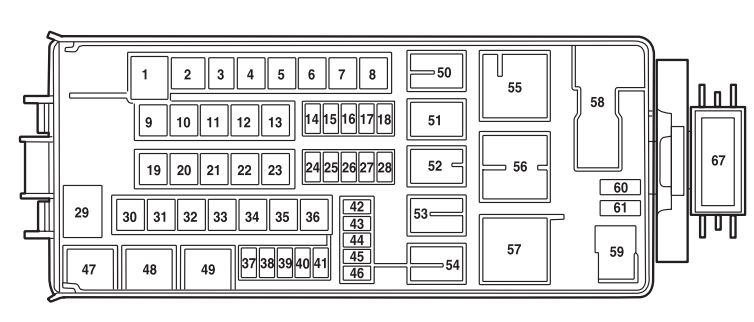 Mercury Mountaineer Second Generation  2002 - 2005  - Fuse Box Diagram