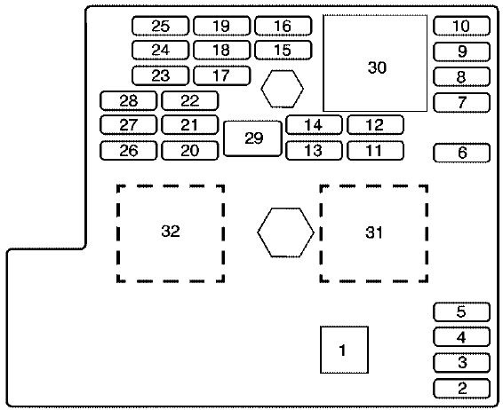 Chevrolet Cobalt  2004 - 2011  - Fuse Box Diagram
