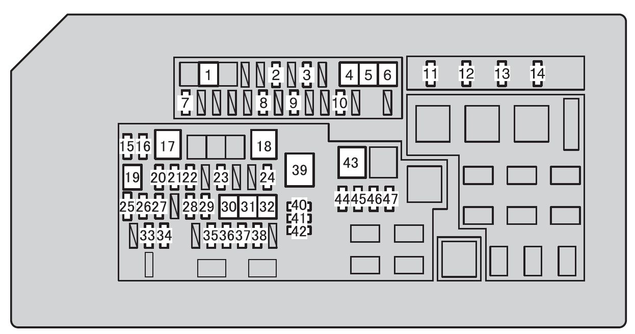 Toyota 4runner  2010 - 2012  - Fuse Box Diagram