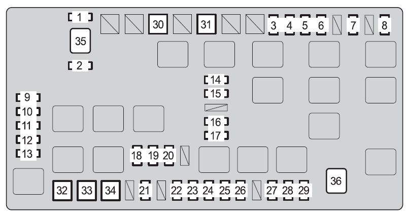 toyota fj cruiser  2010  - fuse box diagram