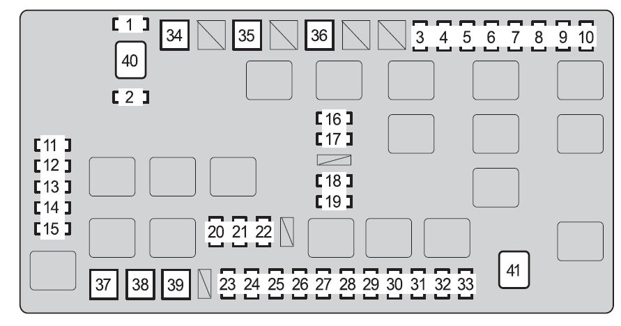 toyota fj cruiser  2011 - 2012  - fuse box diagram