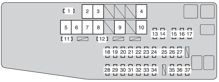 Toyota Camry 2012 Fuse Box Diagram on toyota highlander starter location