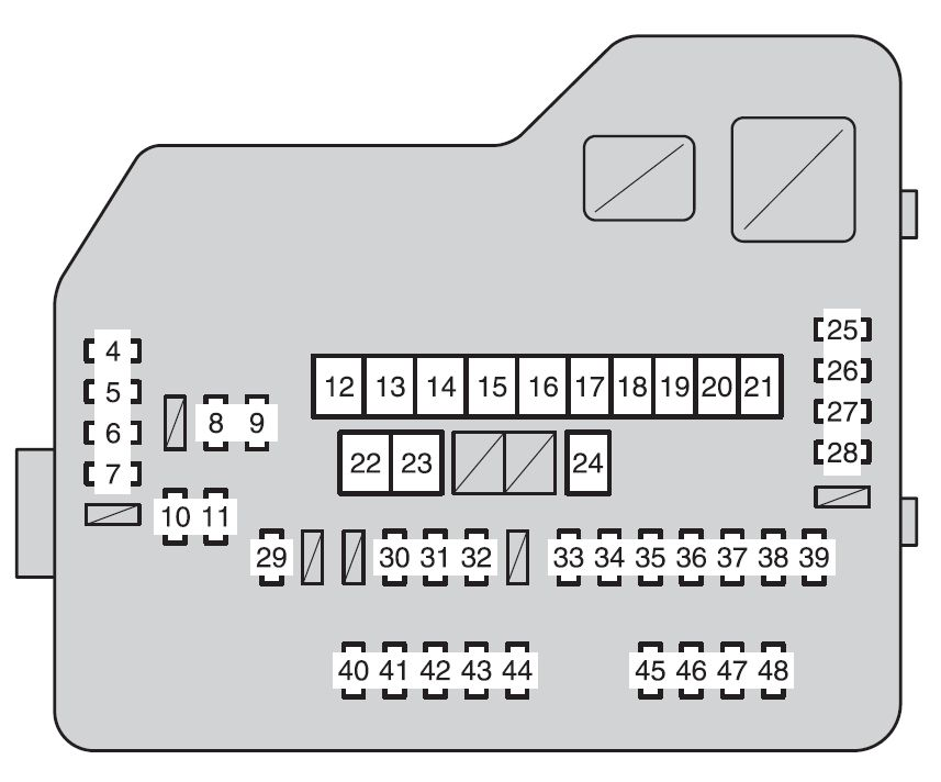 toyota highlander second generation mk2 (xu40; 2011 2013) fuse on 11 Chrysler 200 Fuse Box for toyota highlander second generation mk2 (xu40; 2011 2013) fuse box diagram at 2011 Chrysler 200 Floor Mats