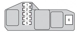 Toyota Hilux mk8 - fuse box - instrument panel (passenger's side)