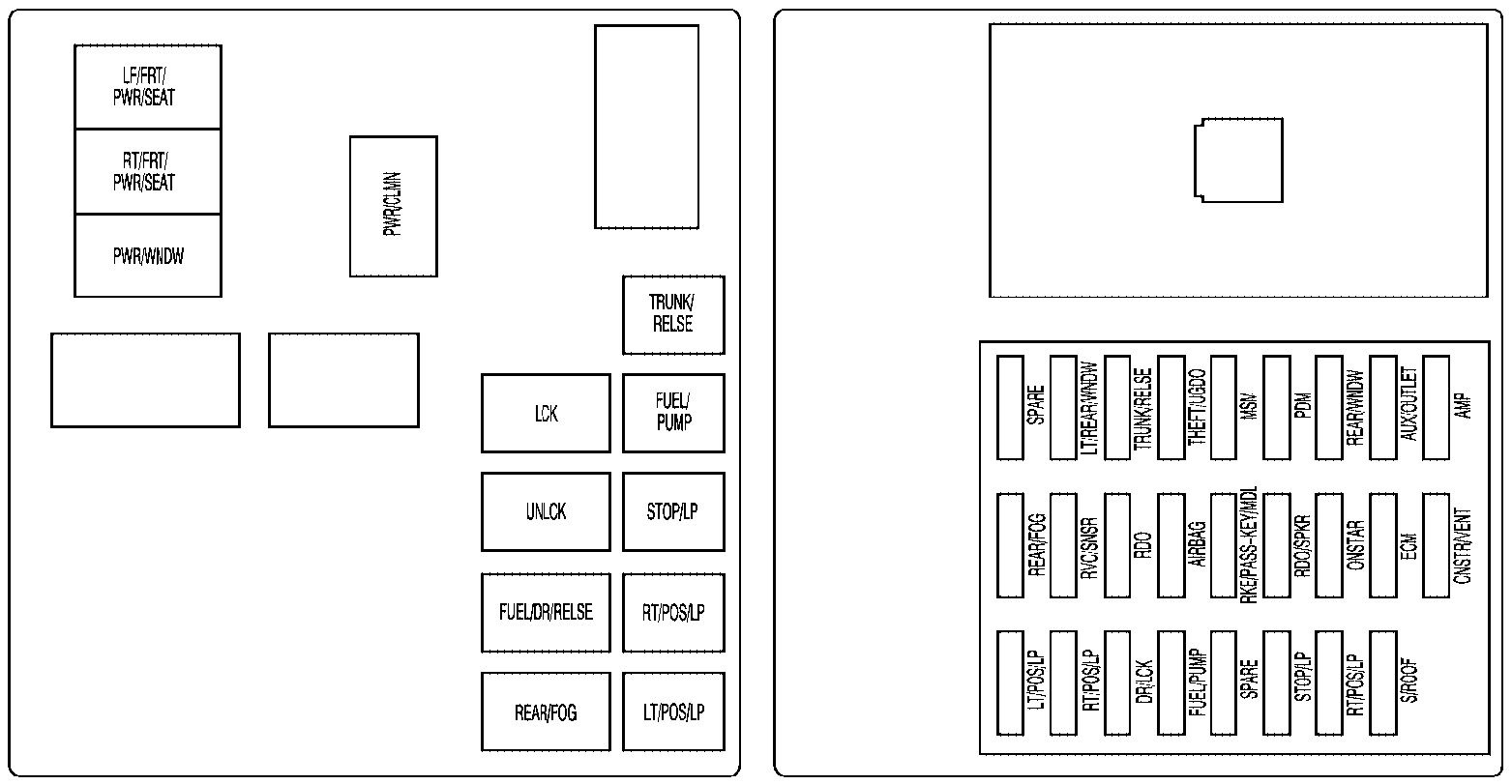 cadillac cts  2009  - fuse box diagram