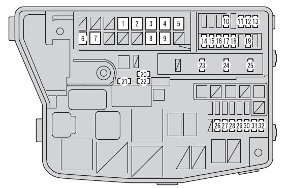 Scion Xb  2012 - 2016  - Fuse Box Diagram