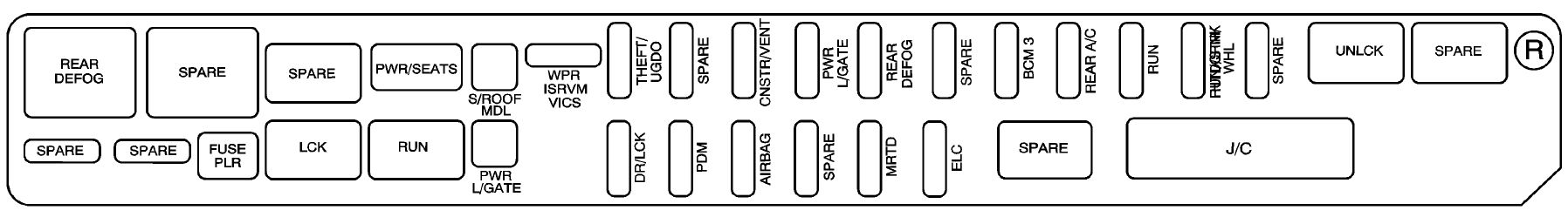 cadillac srx mk1 first generation 2008 fuse box diagram cadillac srx mk1 fuse box rear compartment right side