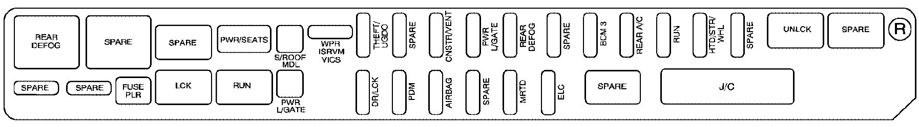 cadillac srx mk1 first generation 2009 fuse box diagram cadillac srx mk1 fuse box rear compartment right side