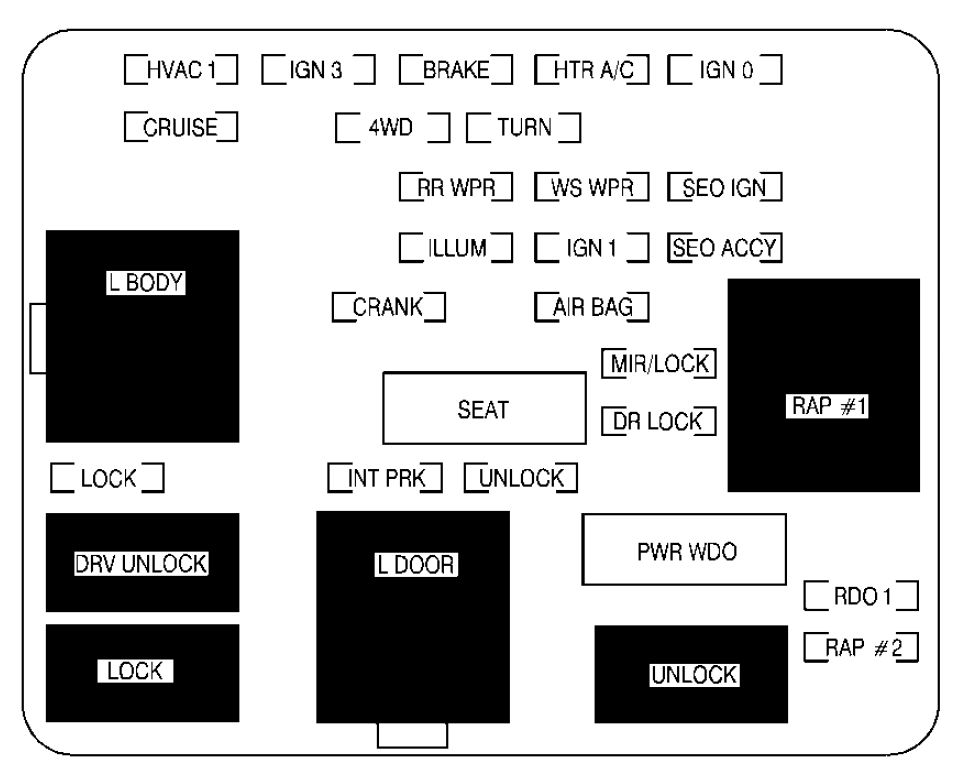 cadillac escalade mk second generation fuse box diagram cadillac escalade mk2 second generation 2002 fuse box diagram