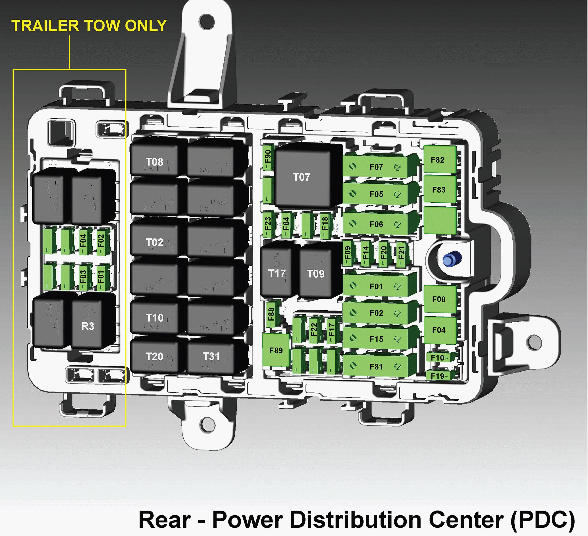 Alfa Romeo Giulia - fuse box diagram - rear power distribution center (PDC)
