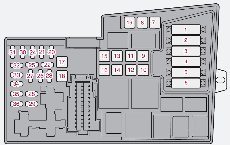Volvo S40 Mk2  Second Generation  2012  - Fuse Box Diagram