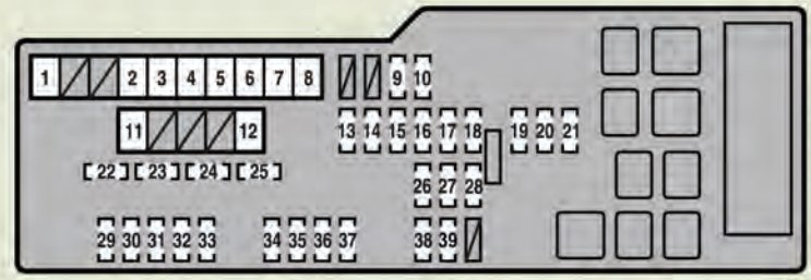 Lexus Es350  2010 - 2012  - Fuse Box Diagram