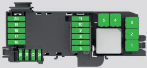 Skoda Rapid - fuse box - engine compartment