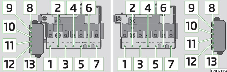 skoda rapid fuse box engine compartment version 1 version 2 skoda rapid (2014) fuse box diagram auto genius skoda octavia 2 fuse box diagram at gsmx.co