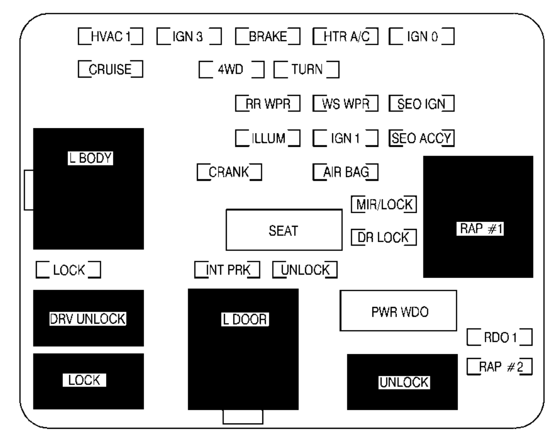 Chevrolet Suburban (2001) – fuse box diagram