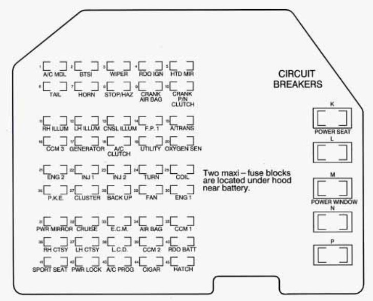 chevrolet corvette (1995 - 1996) - fuse box diagram - auto ... 2002 ford f 150 fuse box wire diagram