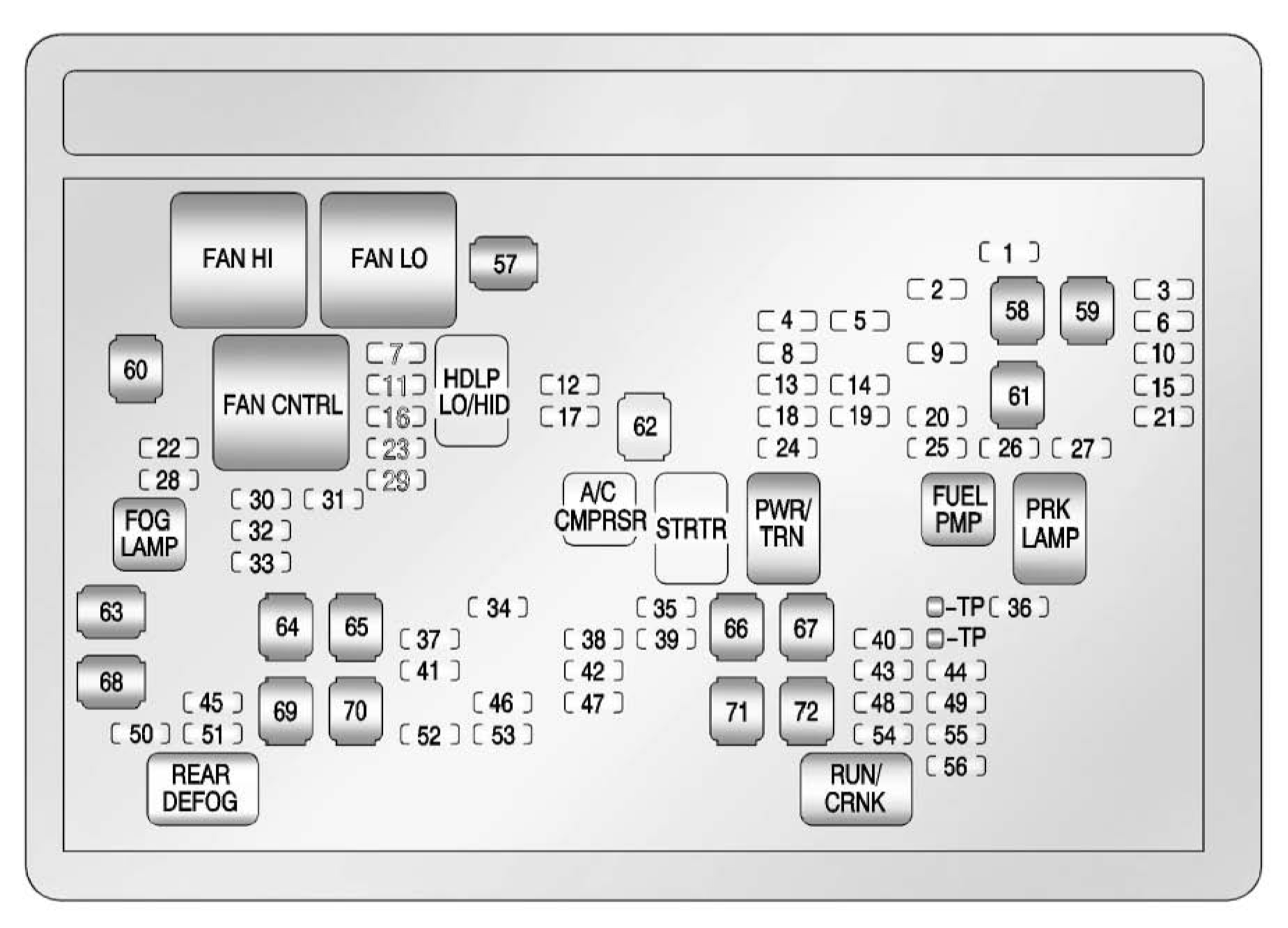 Chevrolet Tahoe 2012 2014 Fuse Box Diagram Auto Genius Engine Fan