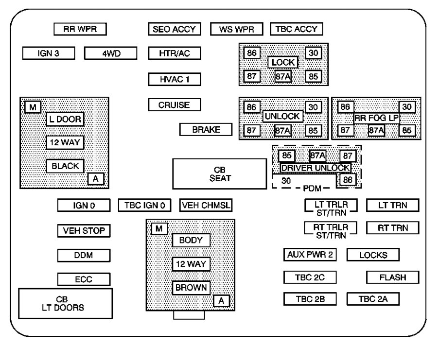 chevrolet tahoe 2004 fuse box diagram auto genius rh autogenius info 2004 chevy tahoe fuse box 2004 tahoe under hood fuse box