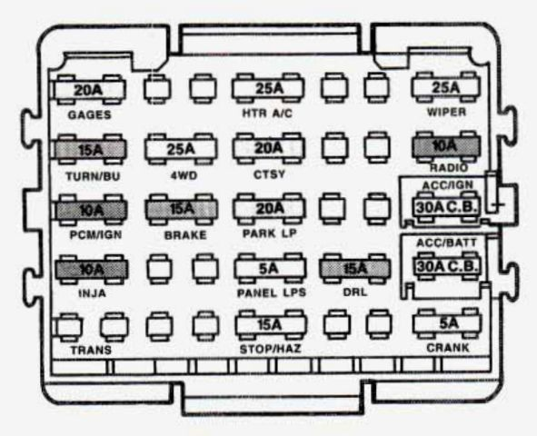 GMC Yukon (1993 - 1994) - fuse box diagram - Auto Genius on 93 honda del sol fuse box diagram, 93 buick roadmaster fuse box diagram, 93 jeep grand cherokee fuse box diagram,