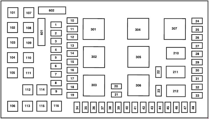 ford f-250  2002 - 2007  - fuse box diagram