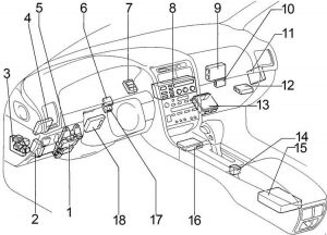 Lexus GS300 - fuse box diagram - passenger compartment