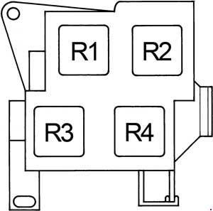 Lexus GS300 - fuse box diagram - passenger compartment relay box