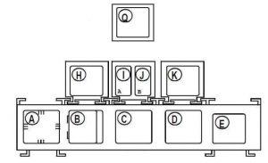 Renault Kangoo - fuse box diagram - passenger compartment relay box