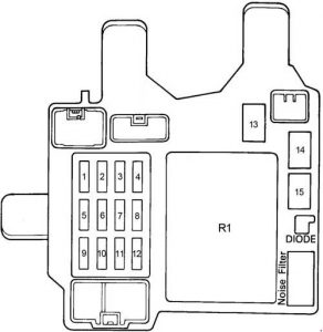 Toyota Camry - fuse box diagram - passenger compartment fuse box (LHD)