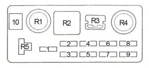 Toyota Corolla - fuse box diagram - engine compartment fuse box