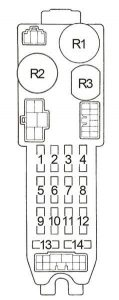 Toyota Corolla - fuse box diagram - passenger compartment fuse box