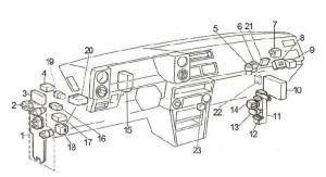 Toyota Corolla - fuse box diagram - passenger compartment (LHD)