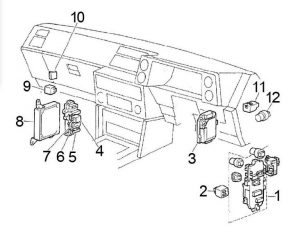 Toyota Corolla - fuse box diagram - passenger compartment (RHD)