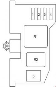 Toyota Hilux - fuse box diagram - passenger compartment relay box before 2011