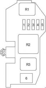 Toyota Hilux - fuse box diagram - passenger compartment relay box from 2011