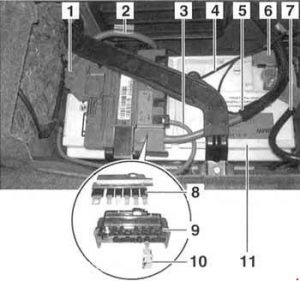 BMW 3-Series (E90, E91, E92, E93) - fuse box diagram - rear power distribution panel