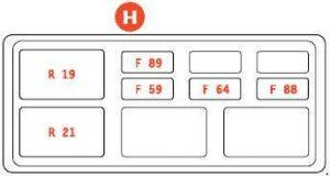 Ferrari 599 - fuse box diagram - luggage compartment - box H