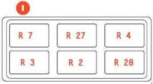 Ferrari 599 - fuse box diagram - passenger compartment - box I