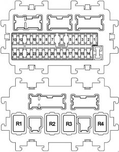 Infiniti FX35 - fuse box diagram - instrument panel (J/B)