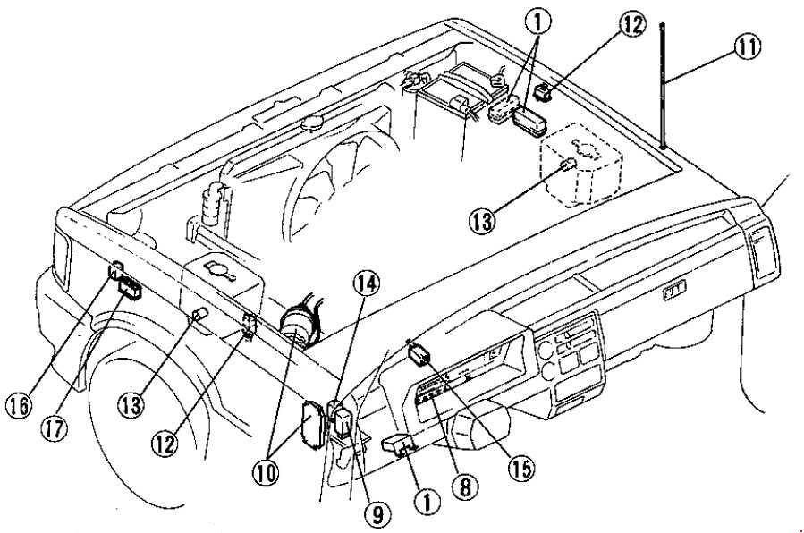 mazda b2600  1985 - 1998  - fuse box diagram