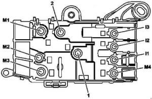 Mercedes-Benz S-Class (w222) - fuse box diagram - engine compartment prefuse (view from above)