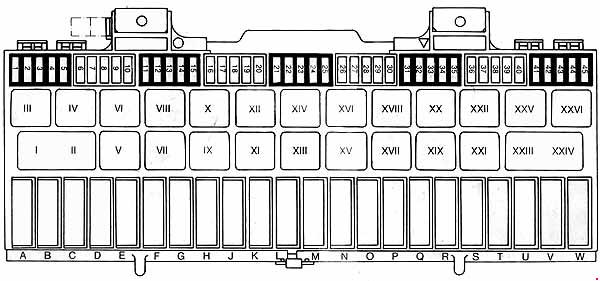 Porsche 928  1977 - 1995  - Fuse Box Diagram