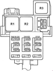 Toyota MR2 - fuse box diagram - left kick panel