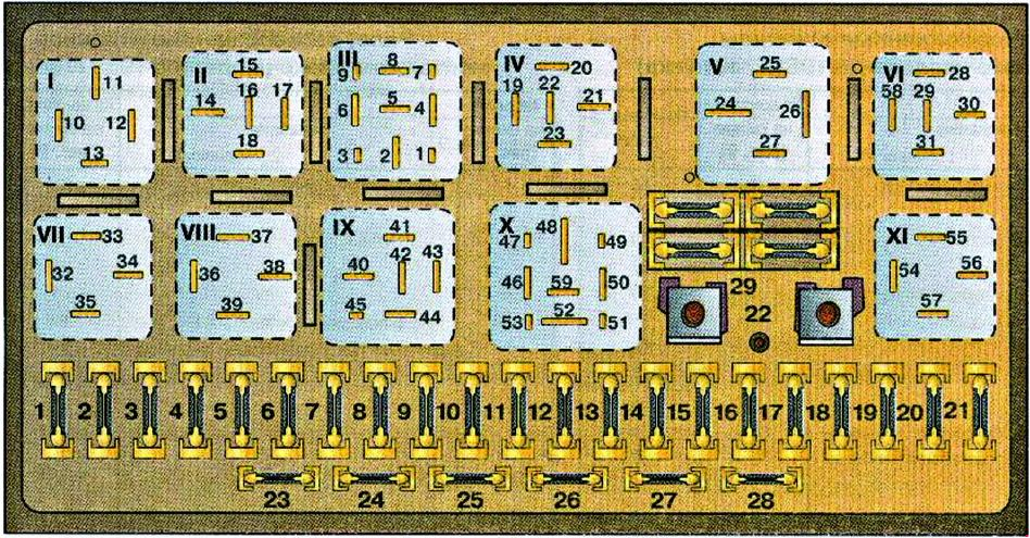 Audi 80  B3   1986 - 1991  - Fuse Box Diagram