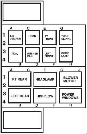 2007-2009  ford lfc - fuse box diagram - relay box