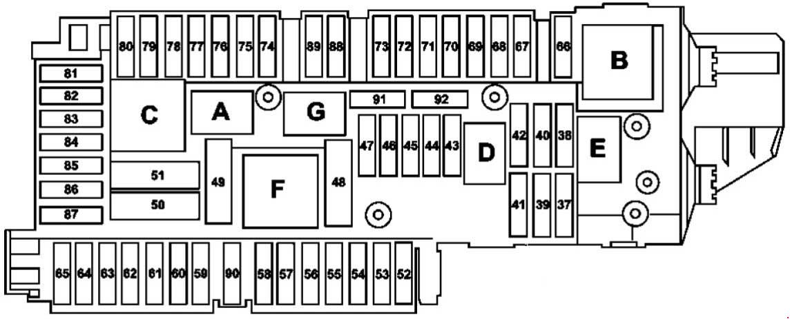 mercedes-benz glk-class  2008 - 2015  - fuse box diagram